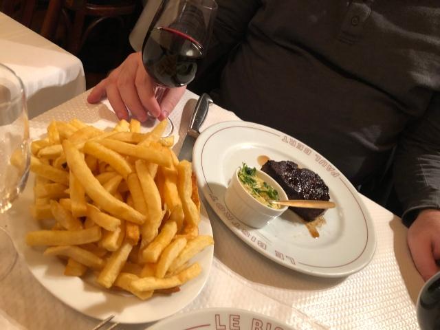 Steak dinner at Bistrot Paul Bert in Paris, France