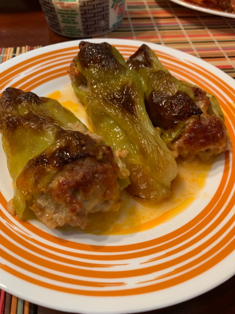 Italian stuffed peppers with sausage and cheese