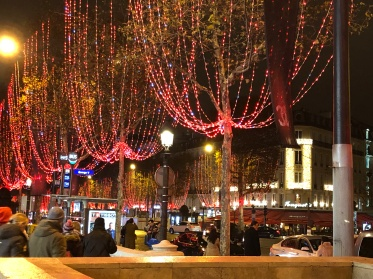 A street with Christmas lights in Paris, France