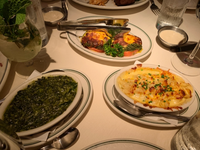 A selection of side dishes at Joe's Seafood, Prime Steak & Stone Crab in Washington, D.C.