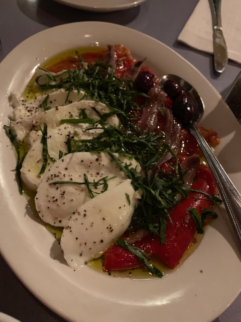 Red peppers, mozzarella, and anchovies at Edo's Squid in Richmond, Virginia