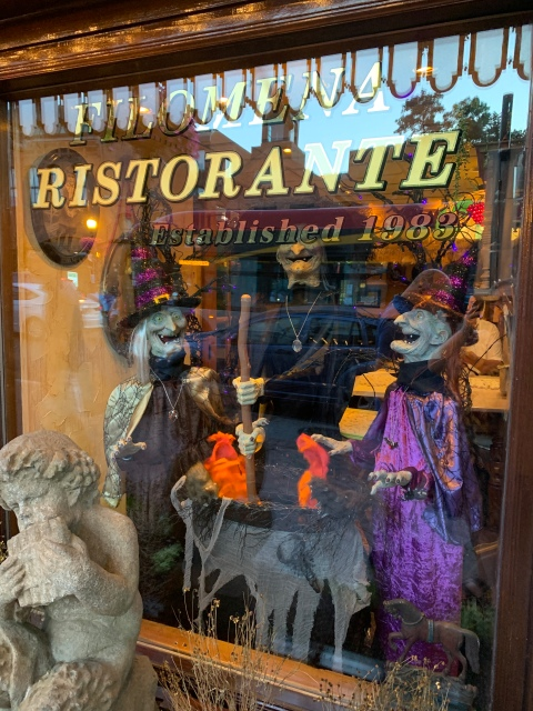 Three witches inside Filomena Ristorante in Washington, D.C.