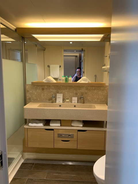 The bathroom in a Haven Spa Suite on the Norwegian Getaway Cruise Ship.