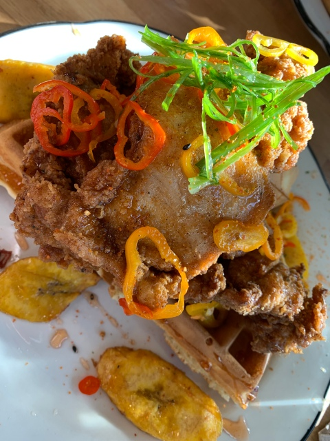 The chicken and waffles at Doce Provisions in Miami, Florida