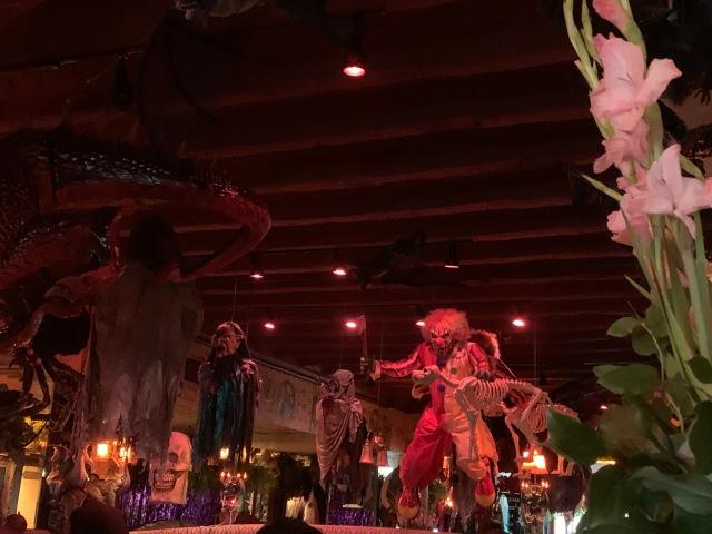 Inside Filomena Ristorante fully decorated for Halloween