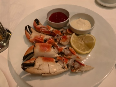 Florida stone crab at Ocean Blue on the Norwegian Getaway Cruise Ship.