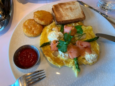 The salmon frittata at the Haven Restaurant on the Norwegian Getaway cruise ship.