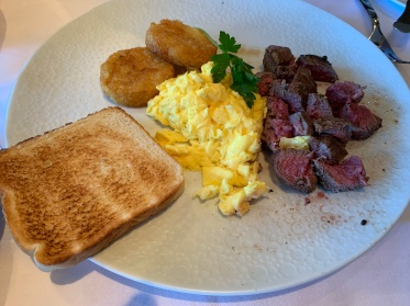 The steak and eggs at the Haven Restaurant on the Norwegian Getaway cruise ship.