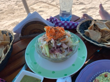 Fresh seafood aguachile at Nacional Beach Club in Costa Maya, Mexico