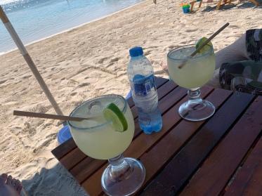Margaritas at Nacional Beach Club in Costa Maya, Mexico
