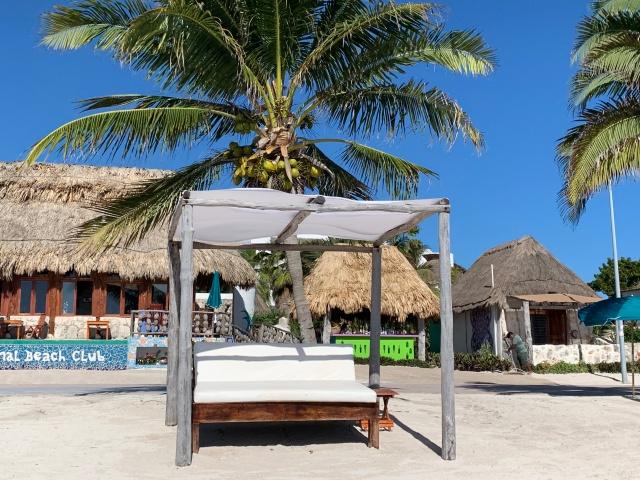 The beach at Nacional Beach Club in Costa Maya, Mexico
