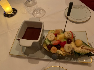 The chocolate fondue at Le Bistro aboard the Norwegian Getaway cruise ship