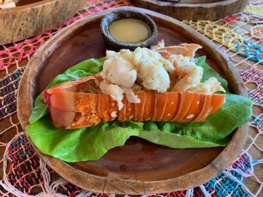 Fresh lobster at Nacional Beach Club in Costa Maya, Mexico
