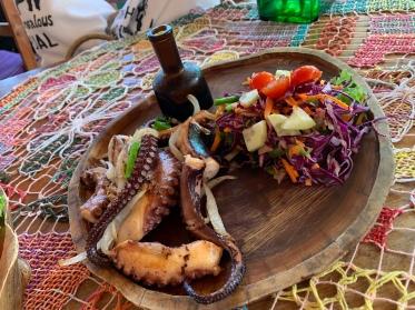 Fresh octopus at Nacional Beach Club in Costa Maya, Mexico